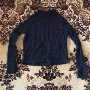 Zara Ribbed Sweater Top with Pocket Details